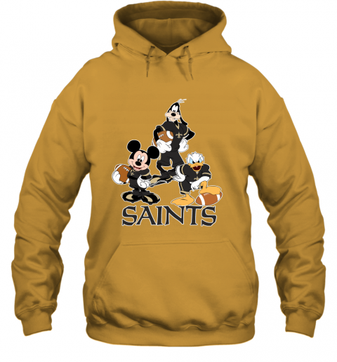 11vl mickey donald goofy the three new orleans saints football hoodie 23 front gold