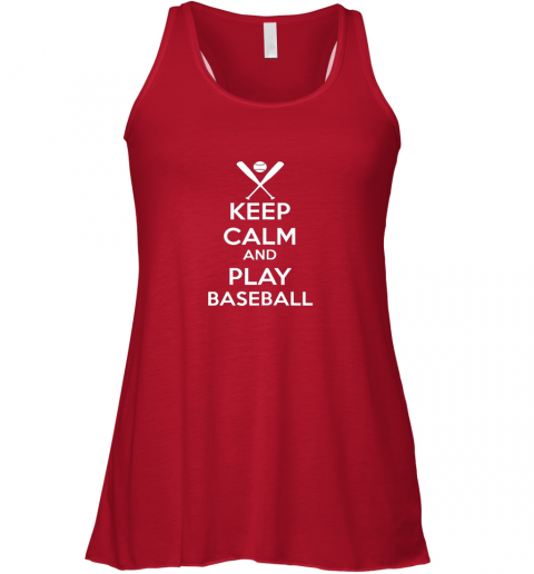 nws2 keep calm and play baseball flowy tank 32 front red