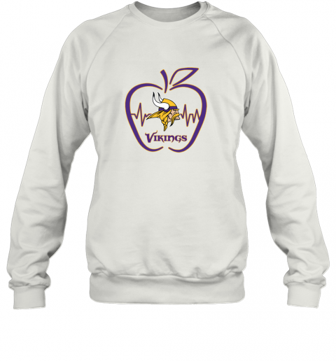 Apple Heartbeat Teacher Symbol Minnesota Vikings Sweatshirt