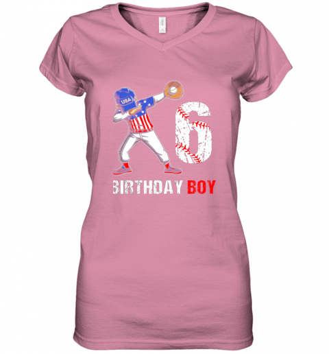 zp8o kids 6 years old 6th birthday baseball dabbing shirt gift party women v neck t shirt 39 front azalea