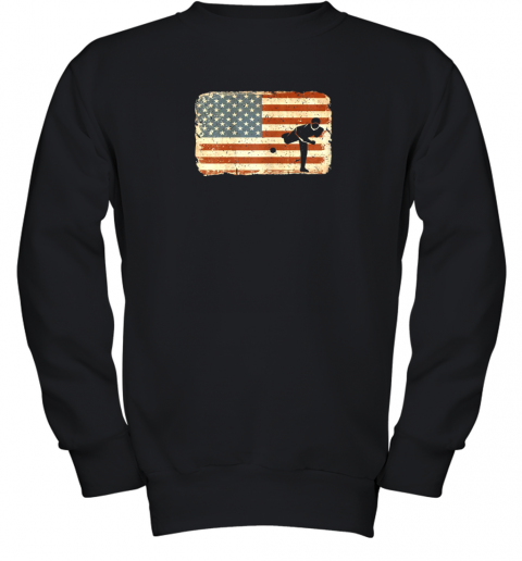 Vintage Baseball Pitcher Shirt American Flag Youth Sweatshirt