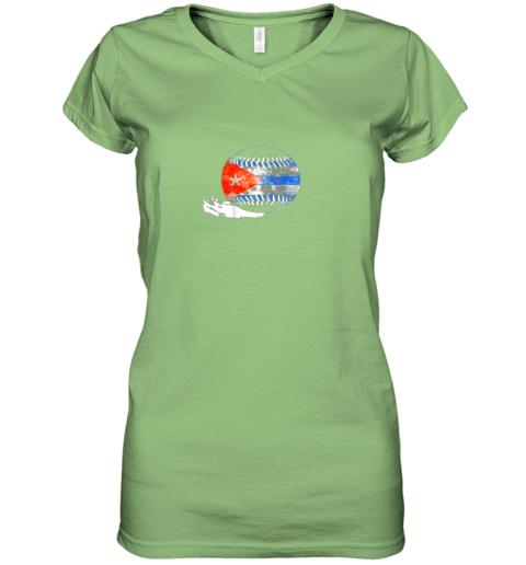 o9xf vintage baseball cuba flag shirt cuban pride women v neck t shirt 39 front lime