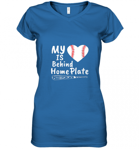 nfyv womens my heart is behind home plate baseball bat mom dad gift women v neck t shirt 39 front royal