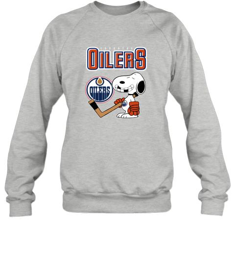 biud edmonton oilers ice hockey broken teeth snoopy nhl shirt sweatshirt 35 front sport grey