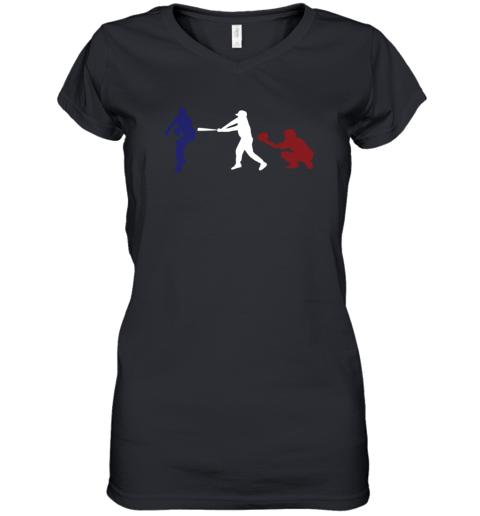 Baseball USA Flag American Tradition Spirit Women's V-Neck T-Shirt