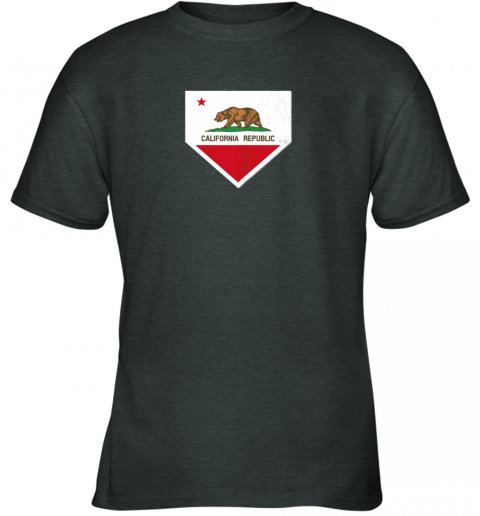 odug vintage baseball home plate with california state flag youth t shirt 26 front dark heather