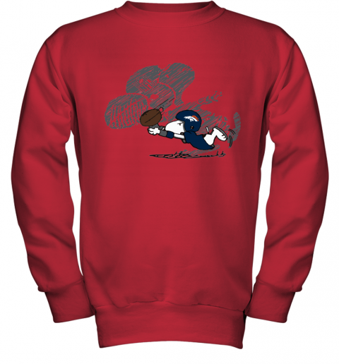 Denver Broncos Snoopy Plays The Football Game Youth Sweatshirt
