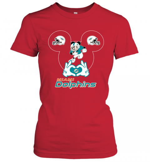 k7dy i love the dolphins mickey mouse miami dolphins ladies t shirt 20 front red