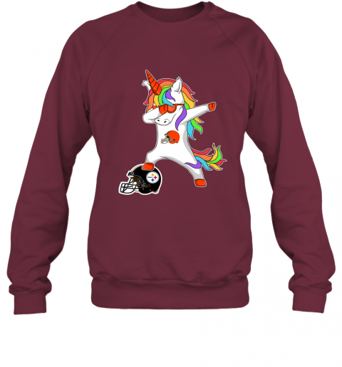 qusr football dabbing unicorn steps on helmet cleveland browns sweatshirt 35 front maroon