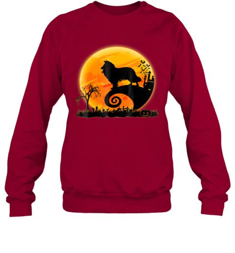 Rough Collie Dog And Moon Funny Halloween Gift Sweatshirt