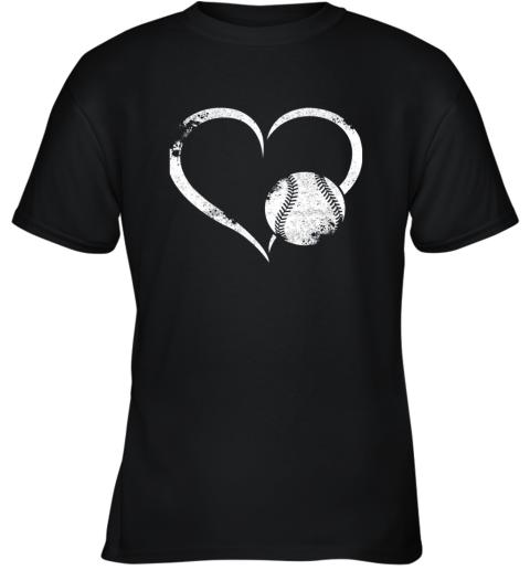 I Love Baseballl Funny Baseball Lover Heartbeat Youth T-Shirt