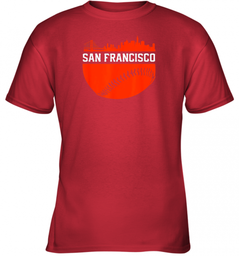 4rnd san francisco baseball vintage sf the city skyline gift youth t shirt 26 front red