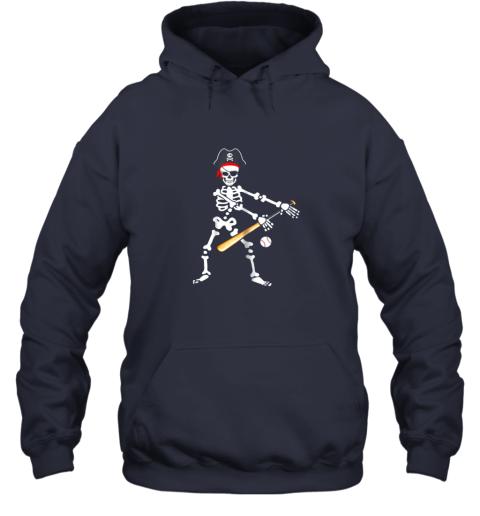 fzo6 skeleton pirate floss dance with baseball shirt halloween hoodie 23 front navy