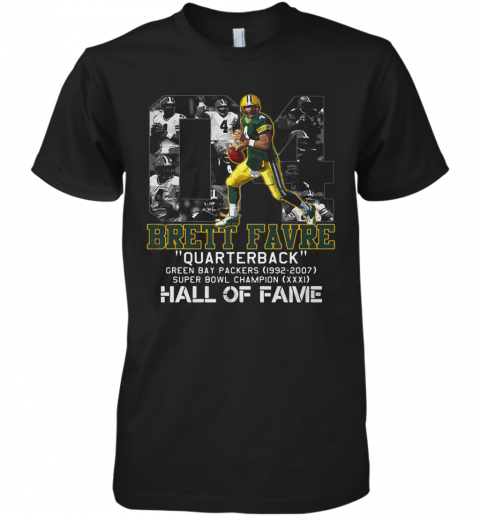 04 Brett Favre Quarterback Green Bay Packers 1992 2007 Super Bowl Champion Hall Of Fame Premium Men's T-Shirt