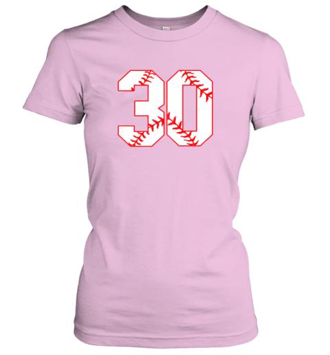 oowm thirtieth birthday party 30th baseball shirt born 1989 ladies t shirt 20 front light pink