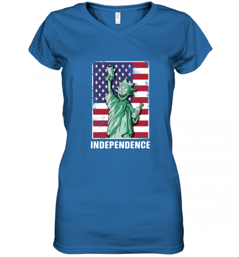 bceu rick and morty statue of liberty independence day 4th of july shirts women v neck t shirt 39 front royal