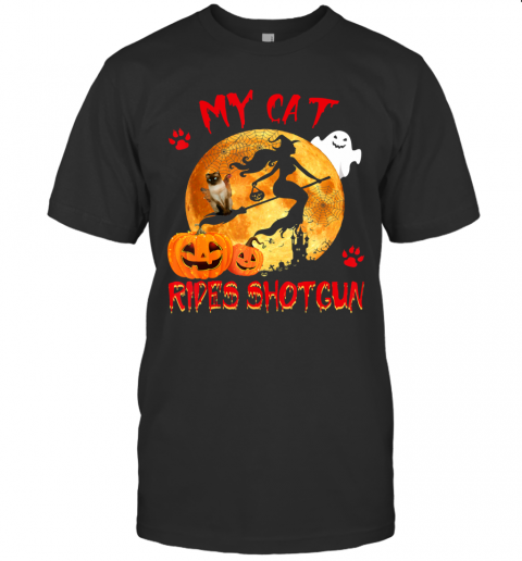 My Cat Rides Shotgun Funny Witch Cat Halloween Gifts T-Shirt