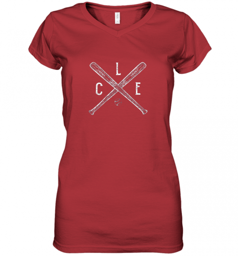g7om vintage cleveland baseball shirt cleveland ohio women v neck t shirt 39 front red