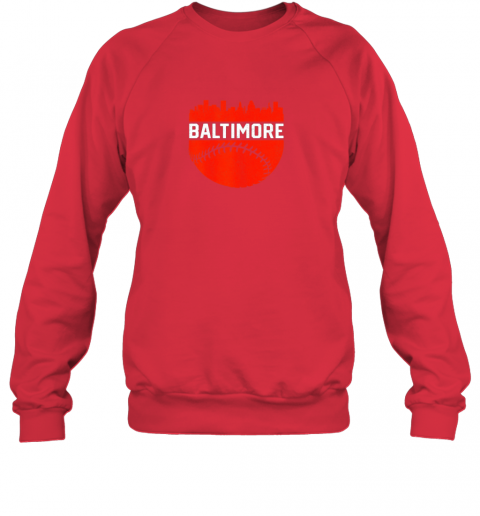 li17 vintage downtown baltimore maryland skyline baseball sweatshirt 35 front red