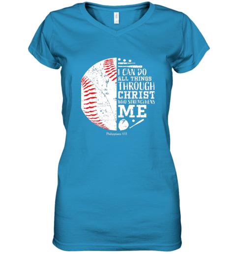 seqx christian baseball shirts i can do all things through christ women v neck t shirt 39 front sapphire