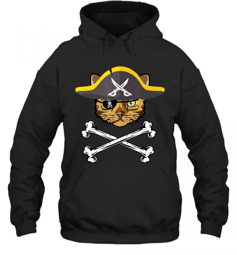 Kawaii Cute Funny Halloween Bengal Pirate Cat T-Shirt Hoodie