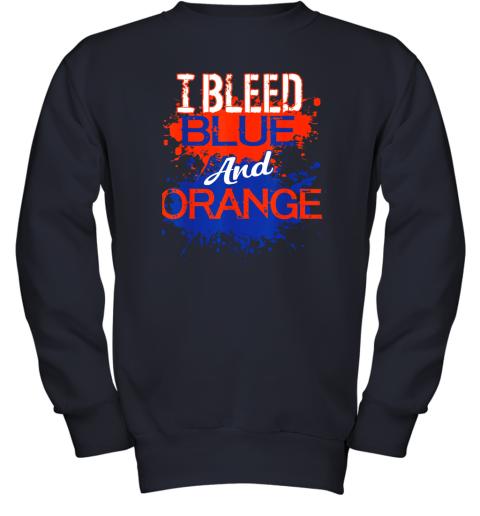 ixtd i bleed blue and orange fan shirt football soccer baseball youth sweatshirt 47 front navy