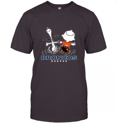 Snoopy And Charlie Brown Happy Denver Broncos Fans Unisex Jersey Tee