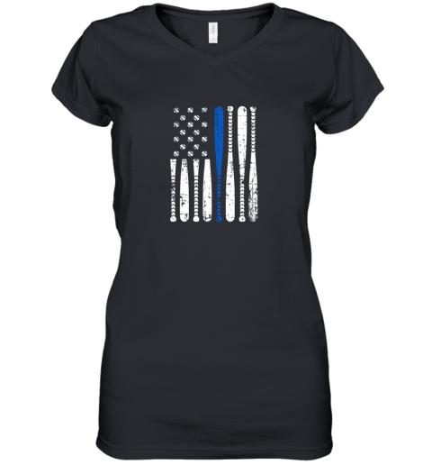 Thin Blue Line LEO USA Flag Police Support Baseball Bat Women's V-Neck T-Shirt