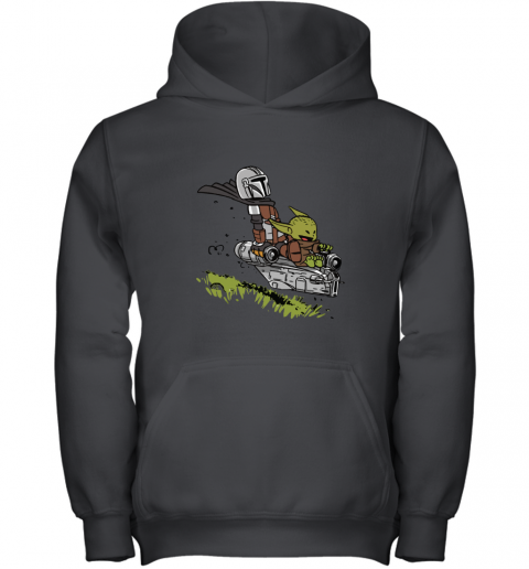 Baby Yoda And Mandalorian Calvin And Hobbes Youth Hoodie