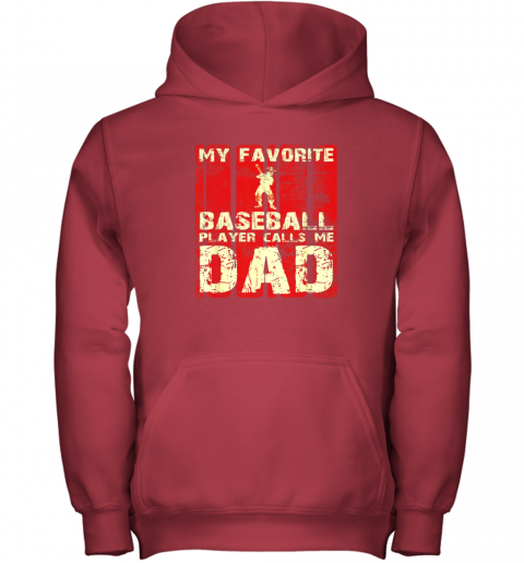 kapd mens my favorite baseball player calls me dad retro gift youth hoodie 43 front red