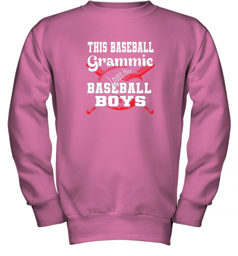 x2yv this baseball grammie loves her baseball boys youth sweatshirt 47 front safety pink