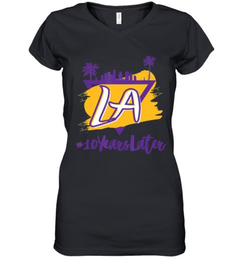 10 Years Later LA Women's V-Neck T-Shirt