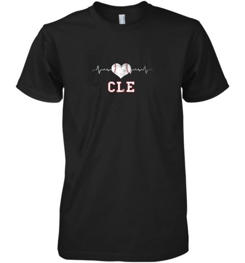 Cleveland Baseball Shirt Cleveland Ohio Heart Beat CLE Premium Men's T-Shirt