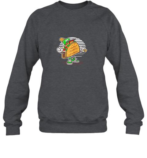 leoz taco baseball shirt baseball playing taco sweatshirt 35 front dark heather