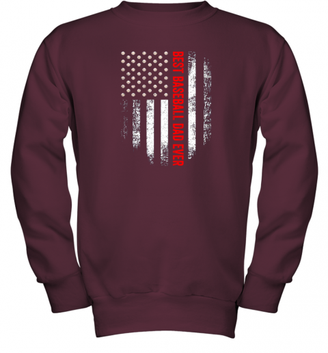 o0yt vintage usa best baseball dad ever american flag daddy gift youth sweatshirt 47 front maroon