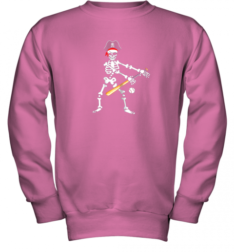 lolx skeleton pirate floss dance with baseball shirt halloween youth sweatshirt 47 front safety pink