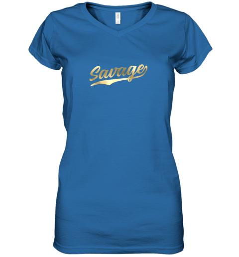 q2tw savage shirt retro 1970s baseball script font women v neck t shirt 39 front royal