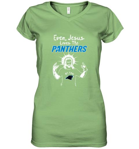 Even Jesus Loves The Panthers #1 Fan Carolina Panthers Women's V-Neck T-Shirt