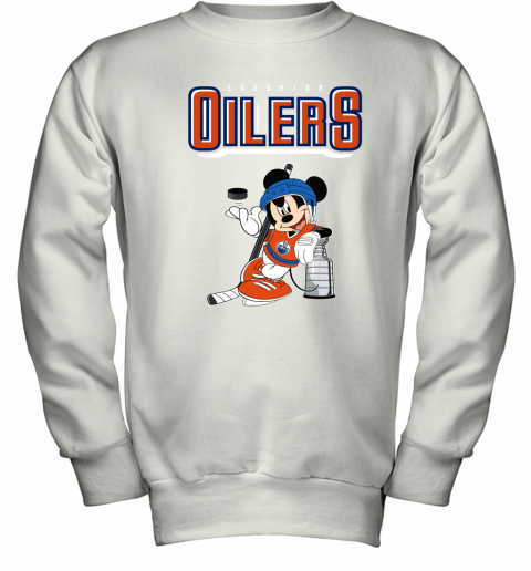 0ud6 mickey edmonton oilers with the stanley cup hockey nhl shirt youth sweatshirt 47 front white