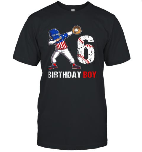 Kids 6 Years Old 6th Birthday Baseball Dabbing Shirt Gift Party Unisex Jersey Tee