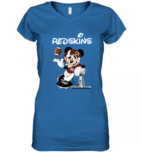 vqlr mickey redskins taking the super bowl trophy football women v neck t shirt 39 front royal