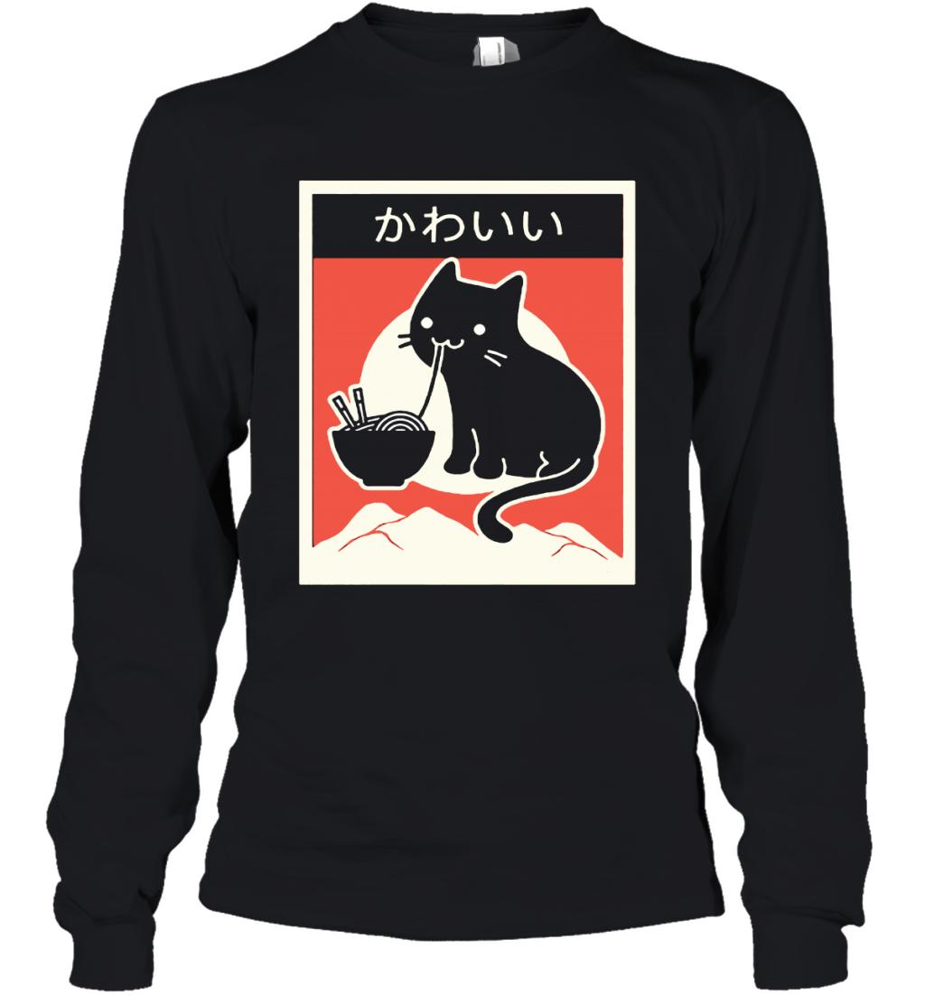Black Cat Eating Ramen Japanese Kawaii Cat Youth Long Sleeve