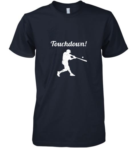 unzl touchdown funny baseball premium guys tee 5 front midnight navy