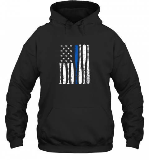 Thin Blue Line LEO USA Flag Police Support Baseball Bat Hoodie