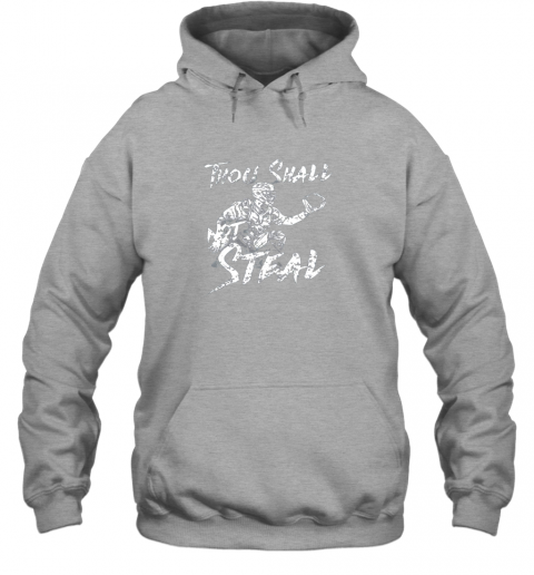 vvqv thou shall not steal baseball catcher hoodie 23 front sport grey
