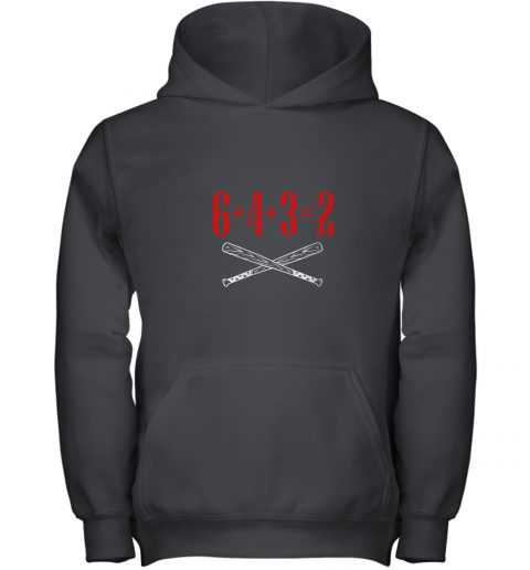 Funny Baseball Math 6 plus 4 plus 3 equals 2 Double Play Youth Hoodie