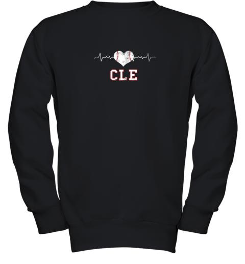 Cleveland Baseball Shirt Cleveland Ohio Heart Beat CLE Youth Sweatshirt