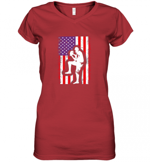 8j68 vintage usa american flag baseball player team gift women v neck t shirt 39 front red