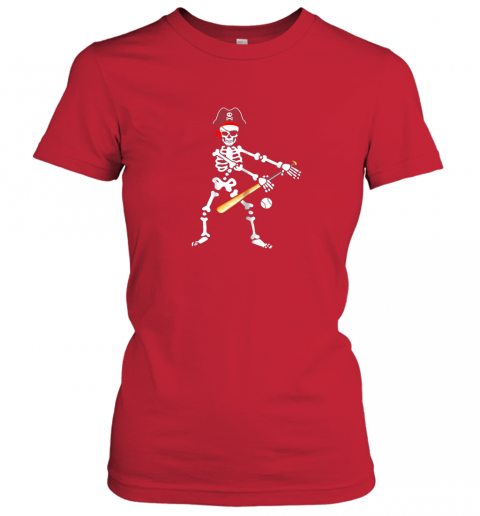 wjwc skeleton pirate floss dance with baseball shirt halloween ladies t shirt 20 front red