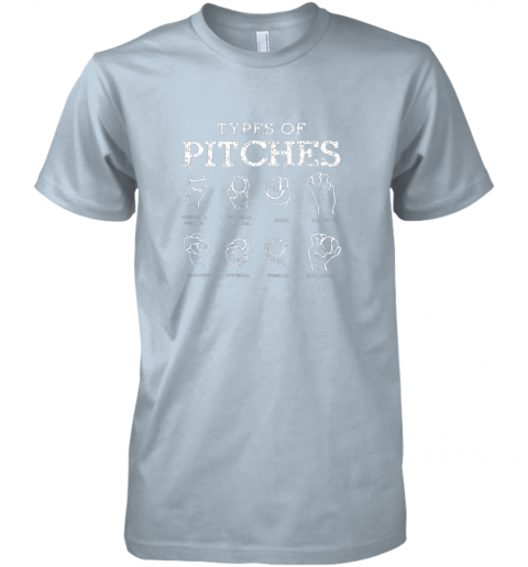 r0wk types of pitches softball baseball team sport premium guys tee 5 front light blue